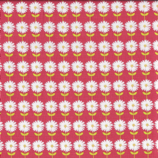 Fabric Freedom Vegetable Patch - 4615 - Rows of White Dasies on Red - FF109-2 - Cotton Fabric